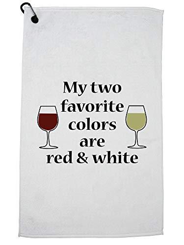 Hollywood draad twee favoriete kleuren zijn rood & wit - wijn drinken liefde golf handdoek met karabijnhaak clip