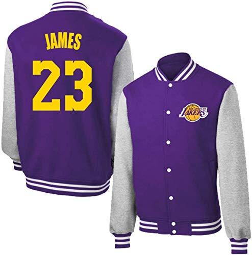 WXR Kapuzenpullover für Herren Neutral Jacken, Los Angeles Lakers # 23 James Jersey, Basketball Trainings-Hemd, Baseball-Trikot Männer und Frauen mit Langen Ärmeln, Metallknöpfe Coat Top
