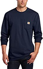Carhartt Men's Workwear Pocket Long Sleeve T-Shirt Midweight Jersey Original Fit K126,Navy,XX-Large