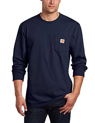 Carhartt Men's Workwear Pocket Long Sleeve T-Shirt Midweight Jersey Original Fit K126,Navy,Medium