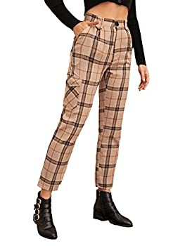 Milumia Women s High Waist Cropped Plaid Tartan Print Carrot Pants Fashion Party Trousers with Pocket Multicoloured Large Brown