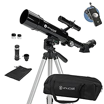 Zhumell - 50mm Portable Refractor Telescope - Coated Glass Optics - Ideal Telescope for Beginners - Digiscoping Smartphone Adapter