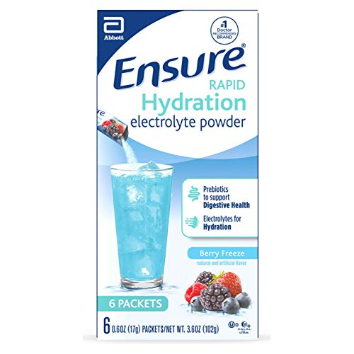 Ensure Rapid Hydration Electrolyte Powder, Prebiotics to Support Digestive Health, Berry Freeze, Electrolyte Drink Powder Packets, 0.6 oz, (6 Count)