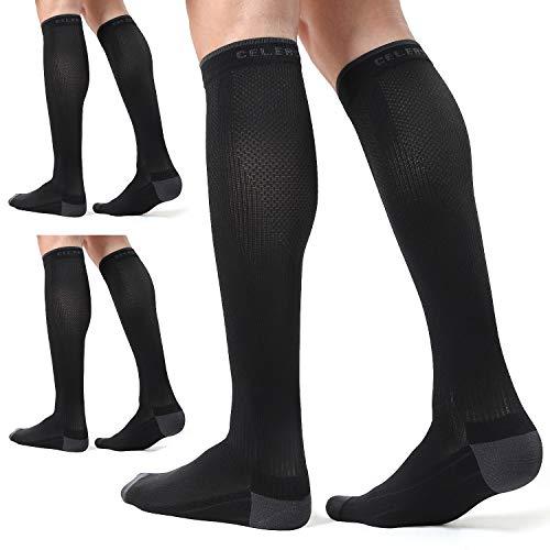 CelerSport 3 Pairs Compression Socks for Men and Women 20-30 mmHg Running Support Socks, Black (3 Pack), Large/X-Large