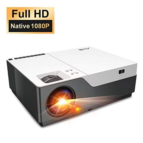 Artlii Beamer, Full HD, 1080p, standaard met 300 inch, LED-videoprojector, 55000 uur, voor Powerpoint presentatie en thuisbioscoop, compatibel met laptop, USB-stick, Android smartphone, iPhone