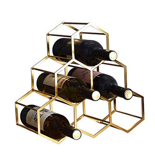 botellero vino resistente Estante del vino encimera, metal geométrico del vino del estante del soporte del vino, Vino Titular 6 Botella de vino de almacenamiento moderna Pequeño estante del vino titul