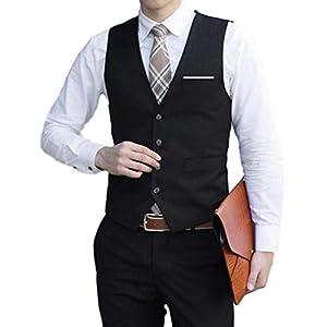 [ベンケ] ジレ ベスト フォーマル スリム フィット メンズ ビジネス カジュアル スーツ 生地 ブラック L