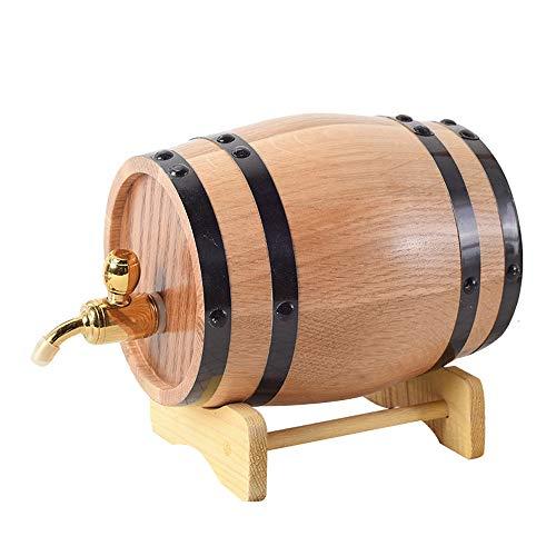 Eiken vat, 1L kleine draagbare huisdecoratie wijnvat met roestvrijstalen kraan, vat voor het opslaan van wijn, cognac, whisky, tequila, enz.