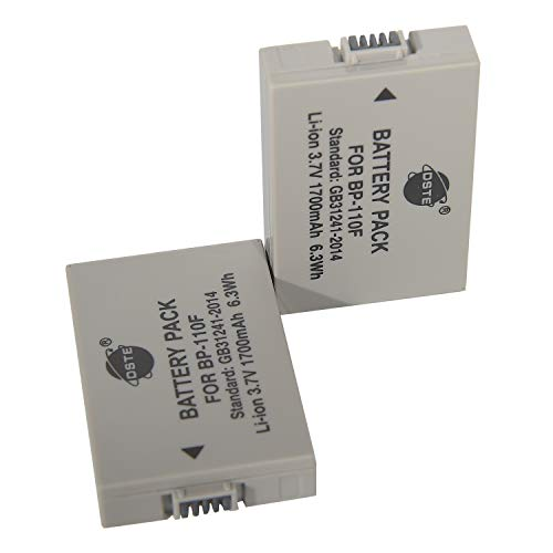 Confezione da 2 batterie di ricambio compatibili per fotocamera BP-110 BP-110F e Canon iVIS HF R21 VIXIA HF R20 R21 R200 LEGRIA HF R26 R27 R28 R205 R2