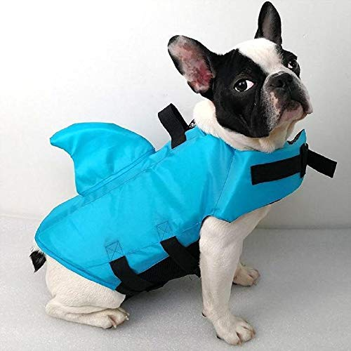 SwimWays Sea Squirts Dog Life Vest w/Fin for Doggie Swimming Safety, Color: Blue, Size: Small, Rest at Ease Knowing Your Pooch has a Life Preserver for Water Safety at The Pool, Beach, or Boating