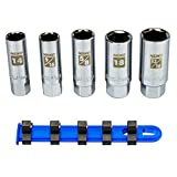 "NEIKO 02500A Spark Plug Socket Set | Rubber Retaining Inserts | 5 pieces | 3/8"" Drive 