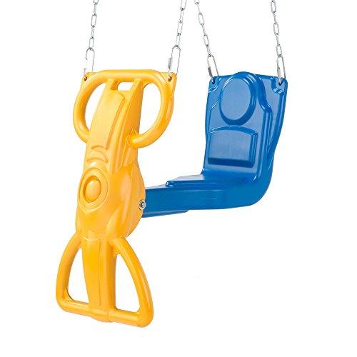Swing-N-Slide Wind Rider Glider Swing, No Swing Hangers Yellow/Blue, 72' H x 14' W x 25' L