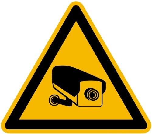 Bord kunststof waarschuwing voor videobewaking 200 mm (camera, bewaking, waarschuwingsplaat) in de praktijk bewezen, weerbestendig