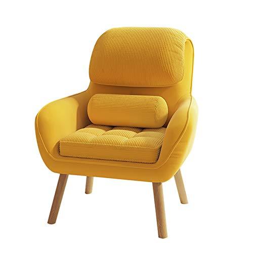 HUAYIN Velvet Accent Chair, getuftete gepolsterte Sofastühle Bequemer Einzelsofa Club-Sessel mit hoher Rückenlehne für Schlafzimmerlesung Moderner,Gelb