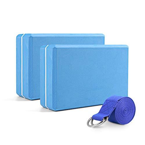 WayEee Bloques de Yoga 2 Unidades Yoga Block de Espuma EVA de Alta Densidad Ladrillo Yoga para Mejorar la Fuerza y Ayudar en el Equilibrio y la Flexibilidad Yoga Pilates Amantes (Azul)