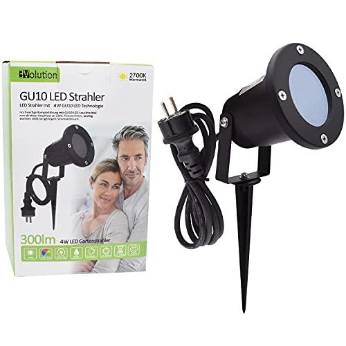 Evolution LED Gartenstrahler mit Erdspieß inkl. 4W GU10 2700K IP65, Gartenbeleuchtung, Wegbeleuchtung, Außenleuchte, Gartenlampe, Gartenleuchte, warmweiß, Spritzwasser geschützt, mit Anschlußkabel…