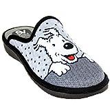 Salvi Confort 01T-361- Zapatillas de Estar por Casa para Mujer del Perro de Tintin Milú - 37, Gris
