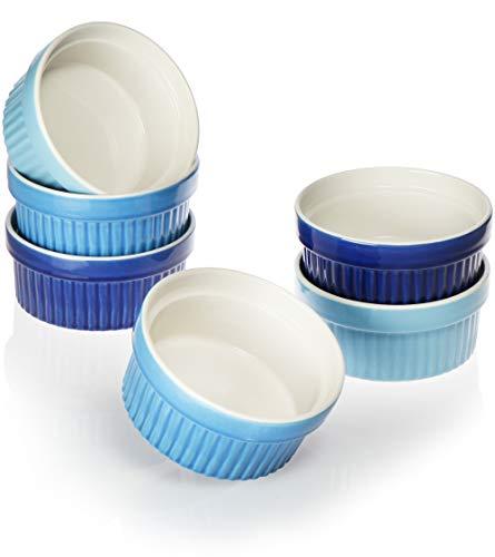COM-FOUR® 6x Soufflé Förmchen - Creme Brulee Schälchen aus Keramik - Ofenfeste Förmchen - Dessertschale und Pastetenförmchen für z.B. Ragout Fin - je 270 ml - in verschiedenen Blautönen