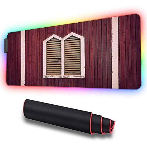 Tapis de souris de jeu RVB, cadre de fenêtre avec volets sur bois, base en caoutchouc antidérapant, tapis de souris USB pour joueur, bureau et maison 31,5 x 11,8 pouces