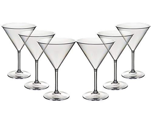 Conjunto de 6 Roltex plástico policarbonato, irrompible, Martini reutilizable/cóctel/sweet gafas. Capacidad350ml, altura 17,5 cm, diámetro máximo 11.75cm
