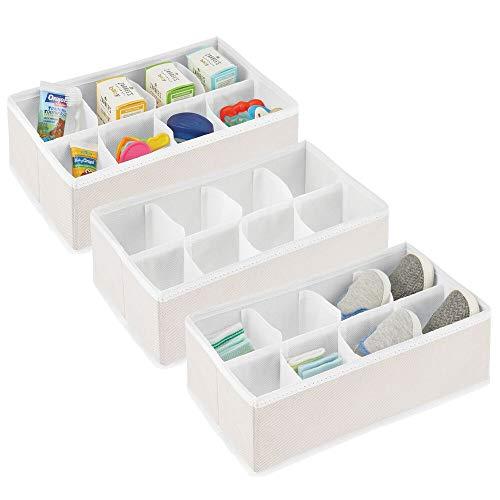 mDesign Set da 3 organizer fasciatoio – Scatole portaoggetti a 8 scomparti ciascuna – Capienti contenitori per giocattoli, salviettine, bavaglini e asciugamani – crema/bianco