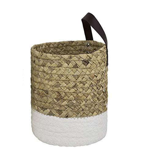 Cesta de almacenamiento manual para la ropa sucia, manta decorativa, cesta organizadora para plantas de mar