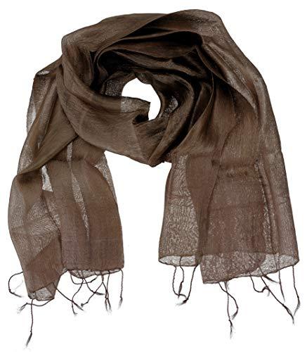 Guru-Shop, Zijden Sjaal, Thaise Sjaal van Zijde, Chocolade Bruin, Size:One Size, 60x160 cm, Doekjes