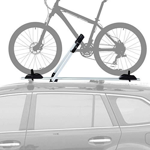COSTWAY Portabicicletas de Techo con Protección Antirrobo Soporte para 1 Bicicleta de Aluminio Barra de Techo