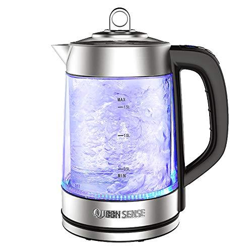 MYYINGELE Premium Glas-Wasserkocher, Wasserkocher mit blauem LED-Beleuchtungssystem, BPA-freies Material und starker Borosilikatglas-Wasserkocher, 1,7 l Professional