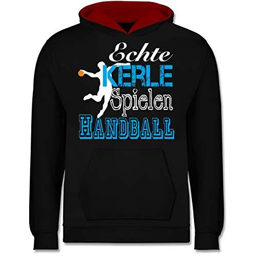 Sport Kind - Echte Kerle Spielen Handball weiß - 152 (12/13 Jahre) - Schwarz/Rot - echte Kerle Spielen Handball Hoodie - JH003K - Kinder Kontrast Hoodie