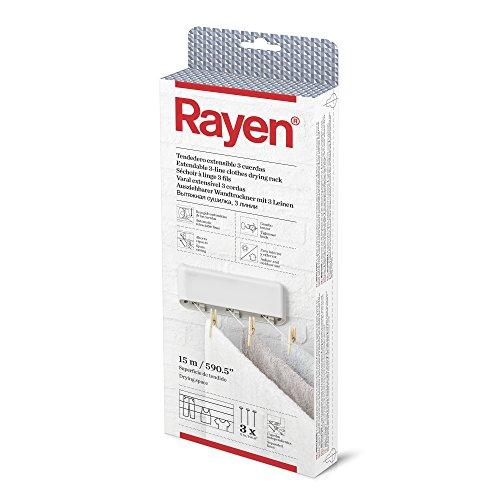 Rayen | Tendedero extensible | 3 Cuerdas Independientes | Recogido Automático de las cuerdas | Tendedero para interior y exterior | Superficie de tendido 15 cm | 28,5 x 11,5 x 3,5 cm