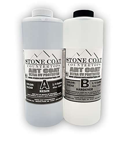 Art Coat (1/2 Gallon) Epoxy Kit (Stone Coat Countertops) - Colorable 2-Part Epoxy with UV Inhibitors for Coating New and Existing Counters with Unique Designs!