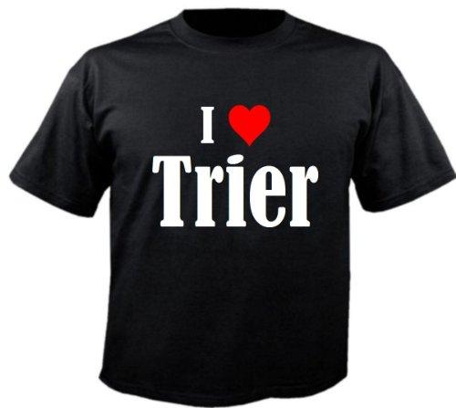 T-Shirt I Love Trier Größe 4XL Farbe Schwarz Druck Weiss