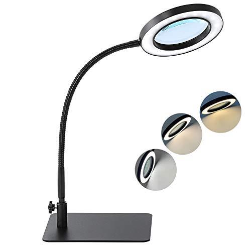 Lámpara de Aumento LED BEIGAON 7W 64Pcs lámpara lupa para estética, SMD LEDS 3 temperatura de color y 10 luminosidad, lente grande de 4,1 , brazo de gooseneck ajustable, función de memoria