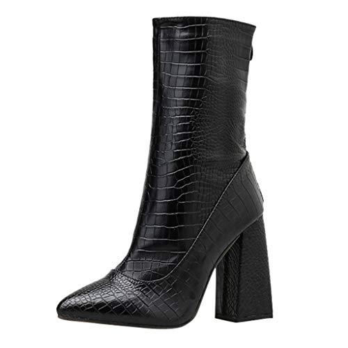 MOTOCO Damen Gummistiefel mit kurzem Ausziehen Gut für Wadenfeste Stiefel mit Hohem Reißverschluss für Frauen(39 EU,Schwarz)