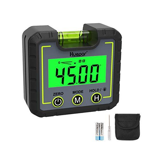 Huepar Digital Niveau Winkelmessgerät Mini Winkelsucher Level Box mit V-Nut Magnetfuß & Hintergrundbeleuchtung LCD Fasenlehre Neigungsmesser für Schreinerei, Baugewerbe, Automobilbau, -0~360° AG01