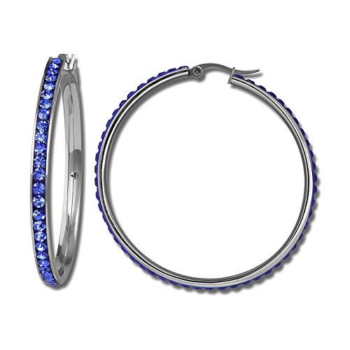 Amello Edelstahl Creolen Damen Swarovski Elements Ohrringe blau 50mm D3ESOS05B Edelstahl Ohrschmuck für die Frau