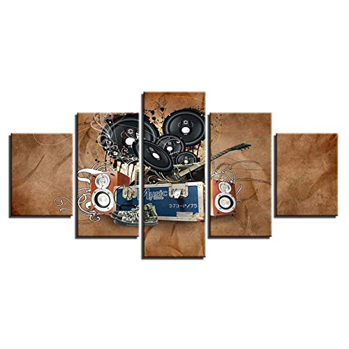 RKSZD 5 canvas schilderijen Woonkamer Decor Hd Prints 5 Stuks Muziek Akoestiek Schilderijen Muur Kunst Modulaire Abstract Canvas Pictures Poster
