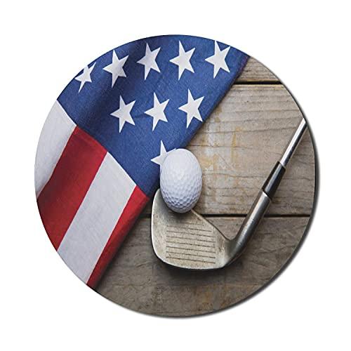 Sport-Maus-Pad für Computer, Golfball-Flagge der USA auf Holztisch Patriotismus Rustikaler Landhausstil, rundes rutschfestes, dickes, modernes Gaming-Mousepad aus Gummi, 8 'rund, dunkelblauer roter Ka