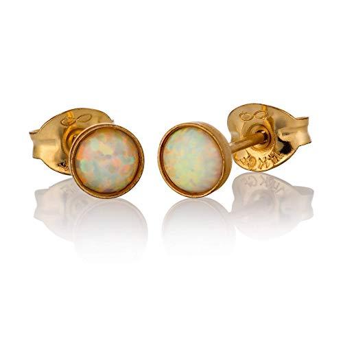 Opal Ohrringe Ohrstecker 14K Gold gef?llt 4mm wei?er Opal Stein