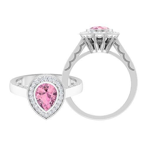 Rosec Jewels 14 quilates oro blanco pera Round Brilliant Pink Moissanite Tourmaline