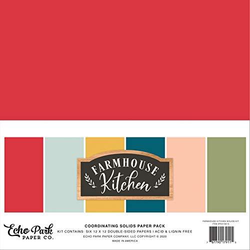 Echo Park Paper Company FK216015 Farmhouse Kitchen Solids Kit Papier, rot, gelb, petrol, Holzmaserung, schwarz