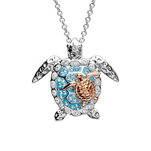 Sevenfly Sea Turtle Mother Baby Pendant Necklace Women Rhinestone Tortoise Pattern Chain Necklace