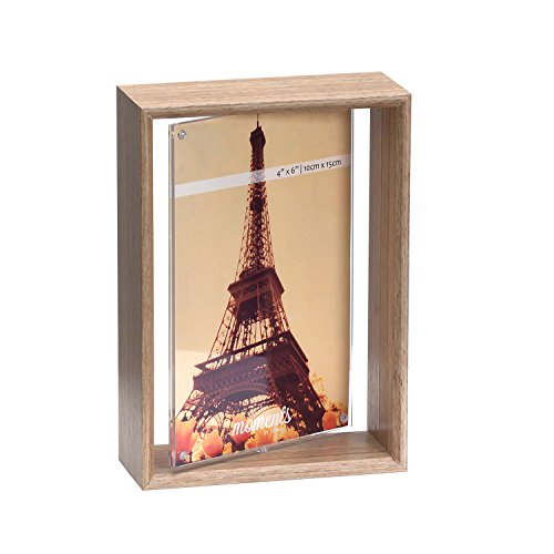"""Unique 4""""x6"""" Rotating 2-Sided Spinner Wood Photo Frame w/ Acrylic Sleeve Picture Display Desktop Decoration"""