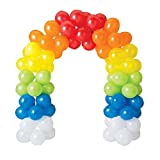100Pcs Balloon Garland & Arch Kit for Rainbow Party-100pcs Latex Balloons, 16 Feets Arch Balloon Decorating Strip for Rainbow Unicorn Birthday Baby Shower Decorations