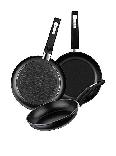 BRA Set de 3 sartenes de aluminio forjado con antiadherente, 18-22-26 cm, aptas para todo tipo de cocinas incluida inducción y vitrocerámica [Exclusiva Amazon]