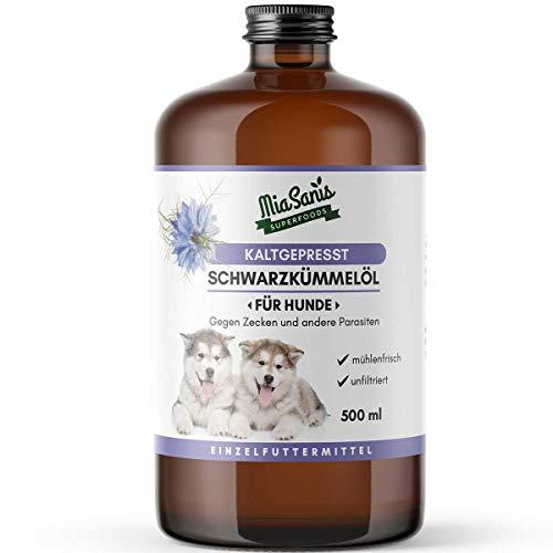 Miasanis® Schwarzkümmelöl für Hunde 500ml UNGEFILTERT wohlschmeckend, würzig FRISCH - aus 100% ägyptisch Schwarzkümmelöl kaltgepresst (besonders Nährstoffreich)