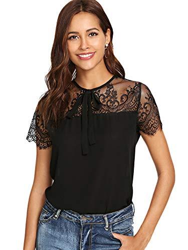 DIDK Damen T-Shirt Bluse mit Spitzen Knoten Schleife vorne Oberteil Tops Schwarz L