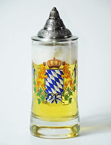 Amoy-Art Jarra de Cerveza Alemana con Estaño Tapa Hecho a Mano Regalo Souvenir Bandera Baviera con Leones Pintados Estándar de Seguridad Alimentaria Caja de Regalo 0.55 Litre