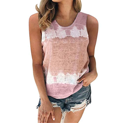 mjhGcfj Plus Size Tie Dye Tank Top Womens Color Block Loose Fit Casual Summer Sleeveless Tops for Women Crewneck Tunic Pink